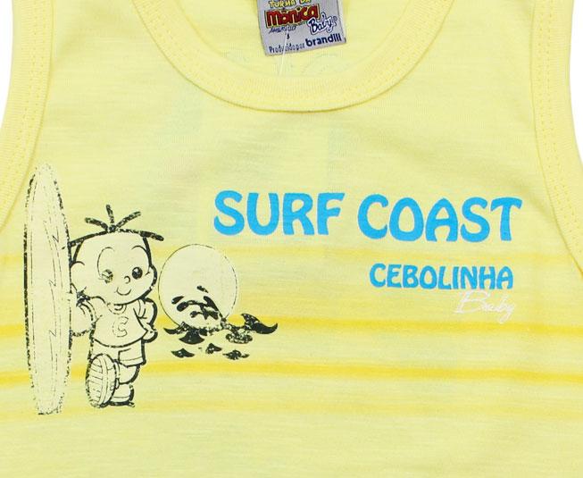 Camiseta Regata Turma da Mônica Cebolinha Surfista Brandili