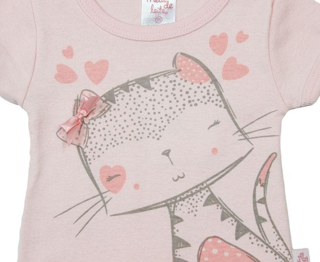 Camiseta Rosa de Gatinho Meia de Leite