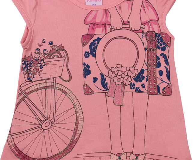 Camiseta Rosa Estampa Ilustrada Kamylus