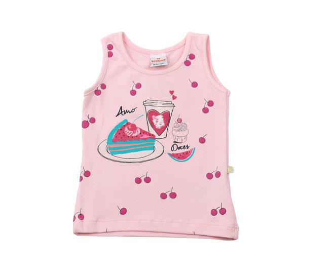 Camiseta Rosa Regata Amo Doces Brandili