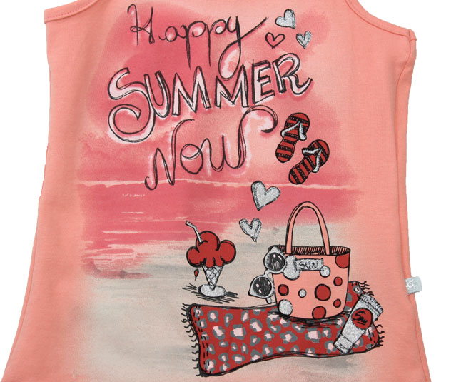 "Camiseta Salmão Regata ""Happy Summer Now"" Brandili"