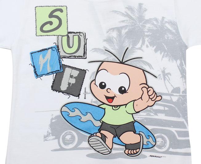 Camiseta Turma da Mônica Cebolinha Surfista Brandili