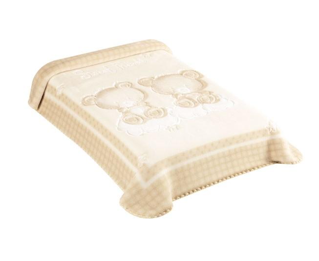 Cobertor Colibri Premium  Relevo Ursinhos Bege