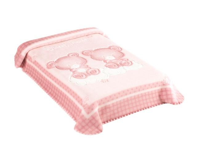 Cobertor Colibri Premium Relevo Ursinhos Rosa