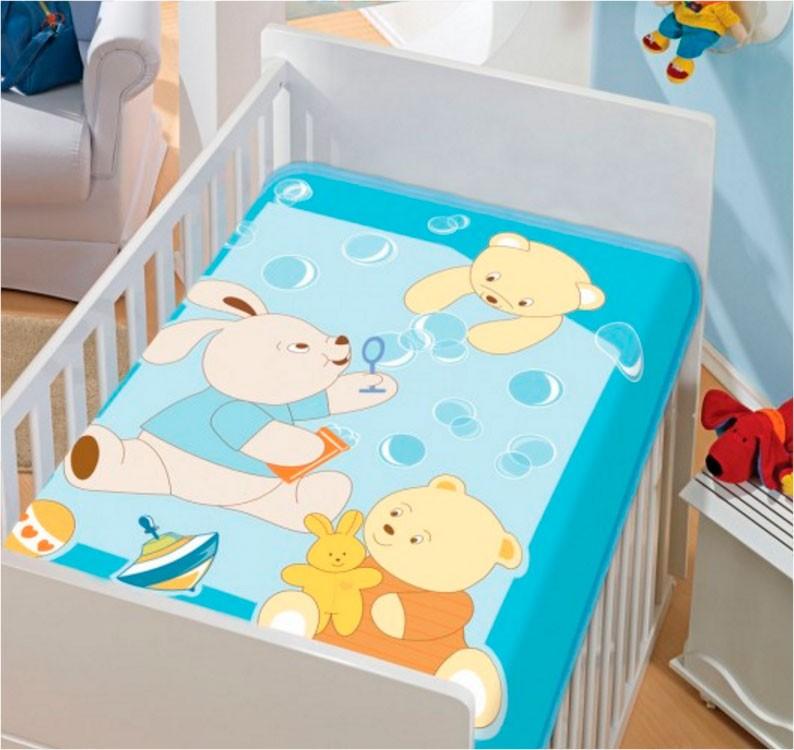 Cobertor de Bebe Jolitex Azul Bolinhas de Sabão