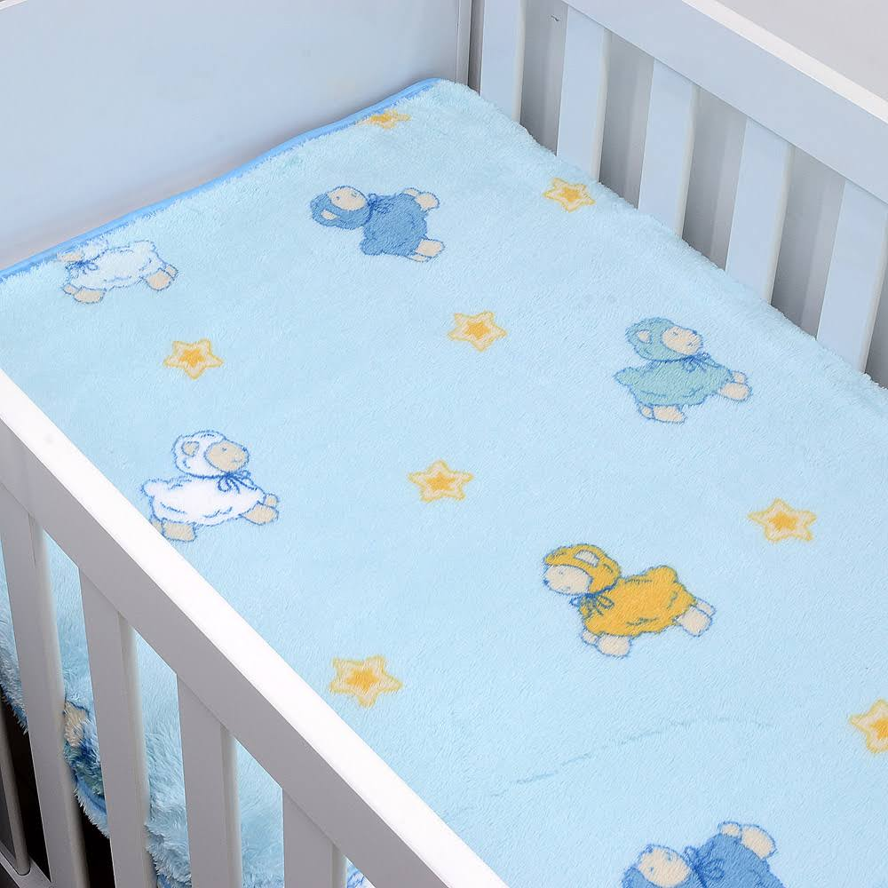Cobertor De Bebê Jolitex Azul Carneirinhos