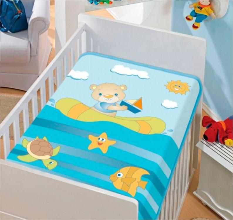 Cobertor de Bebe Jolitex Azul Infantil Barquinho no Mar