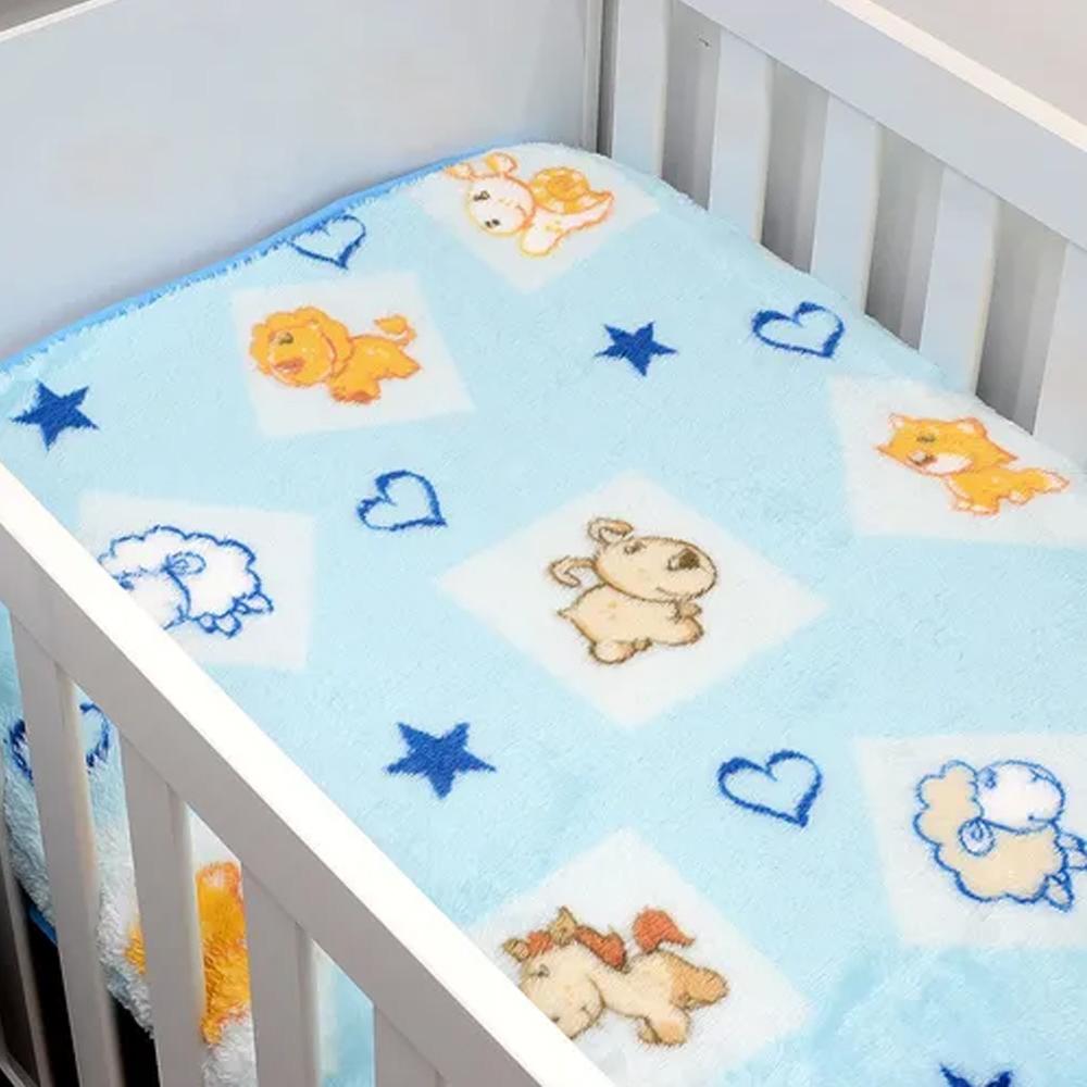 Cobertor De Bebê Jolitex Azul Mundo Dos Bichos