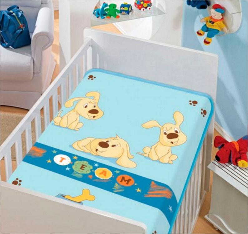 Cobertor de Bebe Jolitex Azul Time de Cachorrinhos