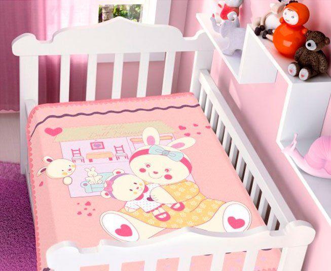 Cobertor de Bebe Jolitex Casa e Boneca Rosa