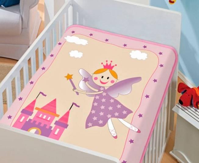 Cobertor de Bebe Jolitex Rosa Fadinha Feliz