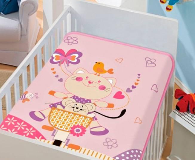 Cobertor de Bebe Jolitex Rosa Gatinha Pedalando