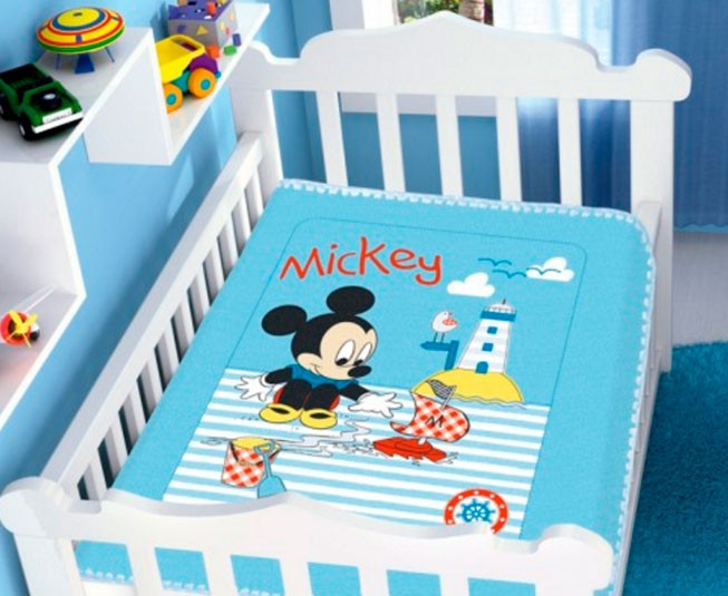 Cobertor de Bebe Mickey Azul Barquinho