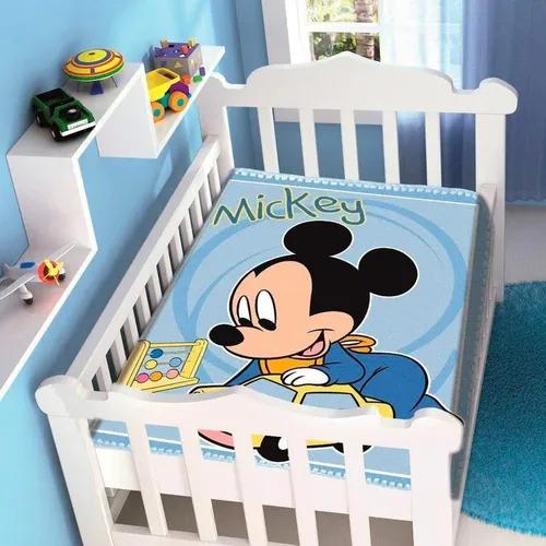 Cobertor de Bebe Mickey Azul Carrinho