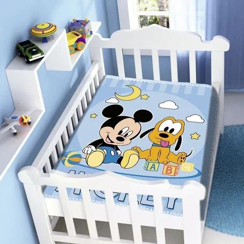 Cobertor de Bebe Mickey Azul Mickey e Pluto feliz