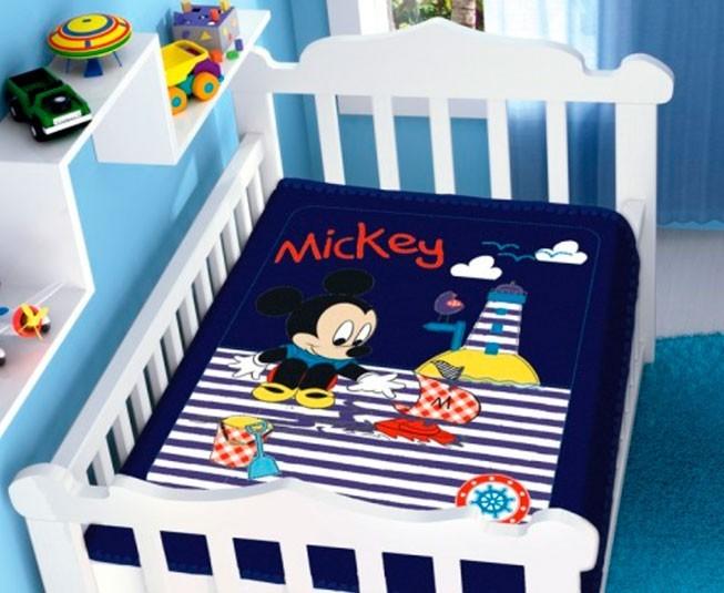 Cobertor de Bebe Mickey Azul Marinho Barquinho