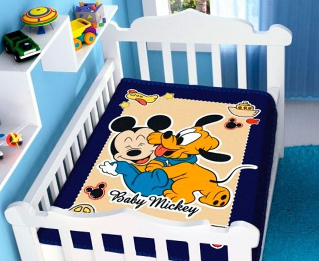Cobertor de Bebe Mickey Azul Marinho Diversão