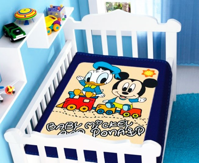 Cobertor de Bebe Mickey Azul Marinho Mickey e Donald