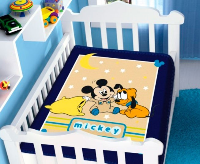 Cobertor de Bebe Mickey Azul Marinho Soninho