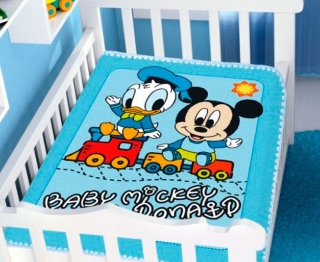 Cobertor de Bebe Mickey Azul Mickey e Donald