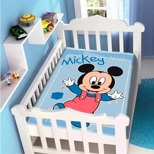 Cobertor de Bebe Mickey Azul Passinhos