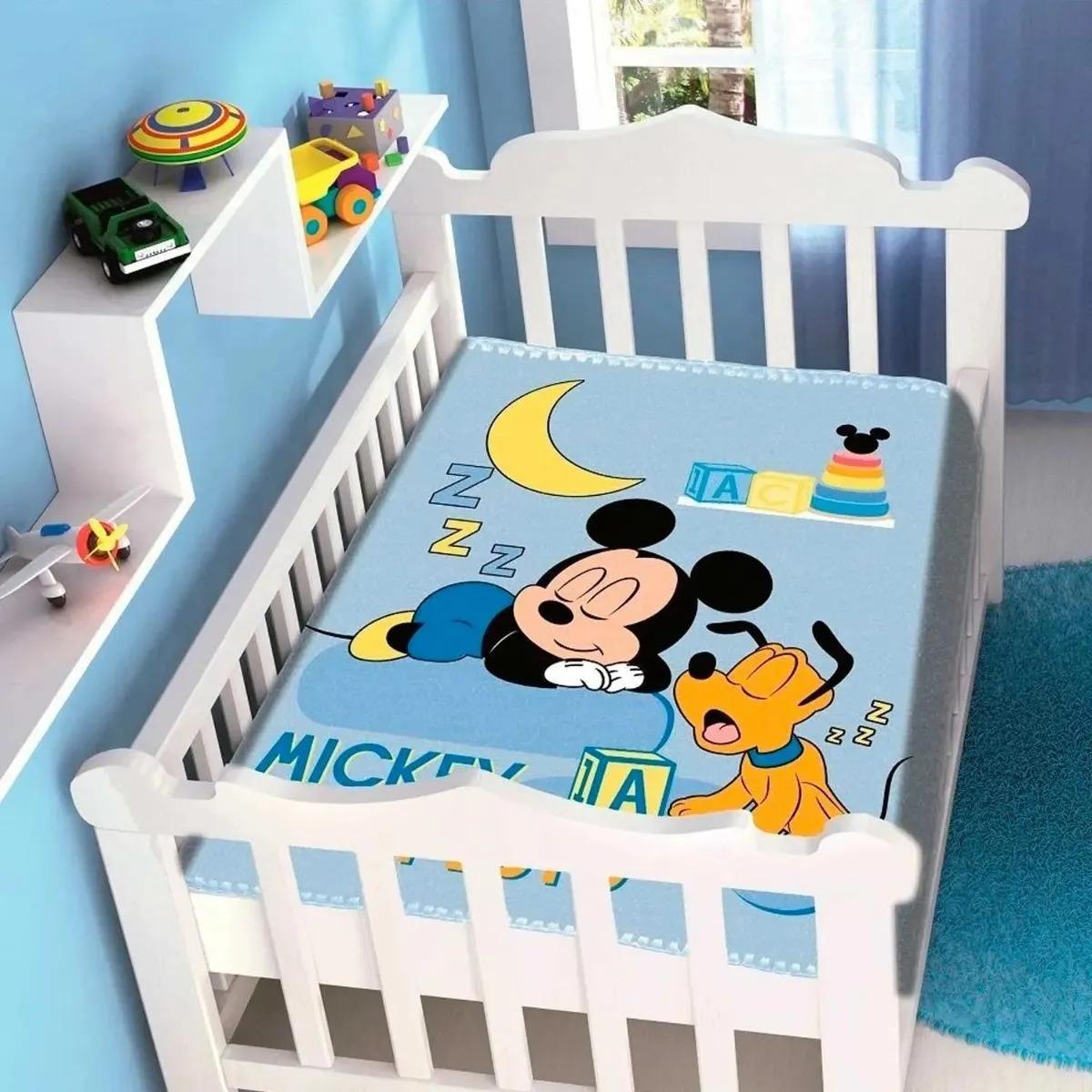 Cobertor de Bebe Mickey Azul Sonhando