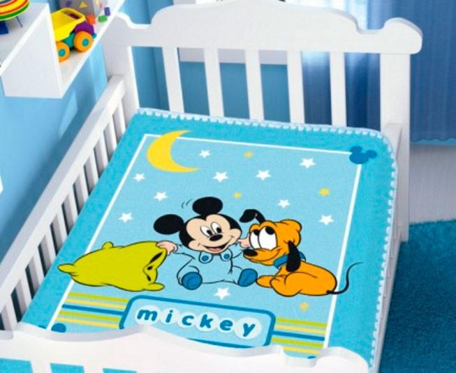 Cobertor de Bebe Mickey Azul Soninho