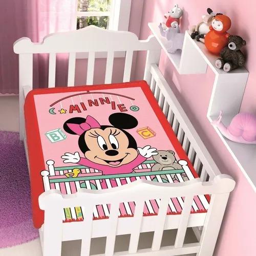 Cobertor de Bebe Minnie Rosa Bercinho