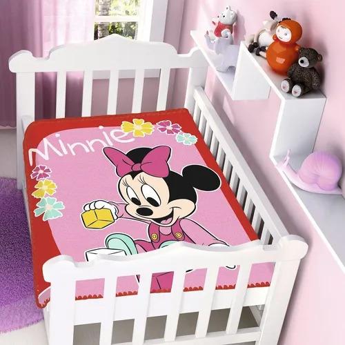 Cobertor de Bebe Minnie Rosa Brincando Com Bolinhas