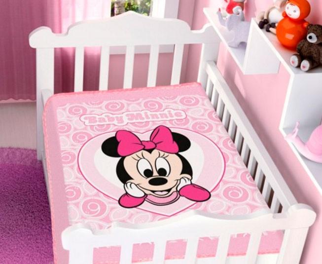 Cobertor de Bebe Minnie Rosa Coração