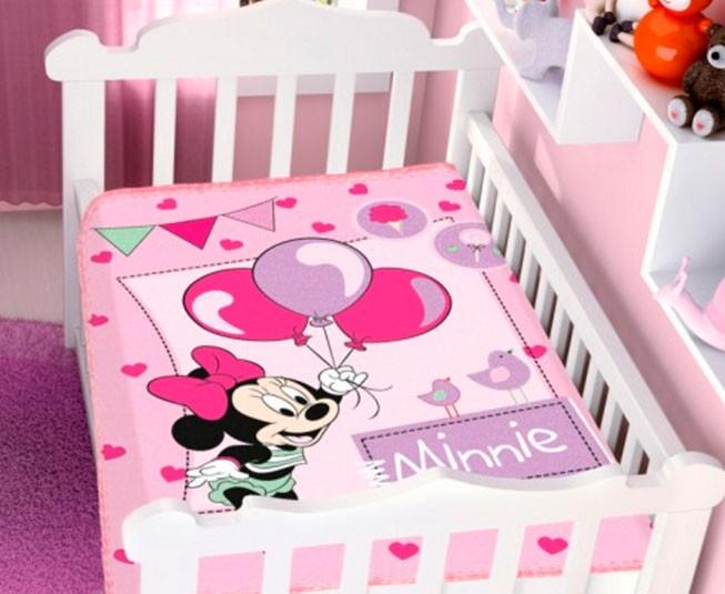 Cobertor de Bebe Minnie Rosa Festa