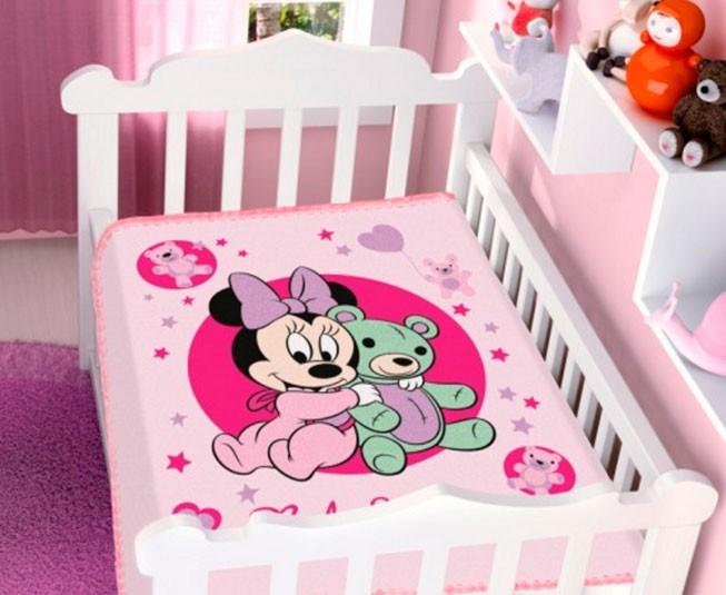 Cobertor de Bebe Minnie Rosa Ursinho