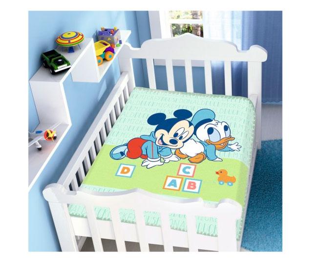 Cobertor de Bebe Mickey Azul Amiguinhos