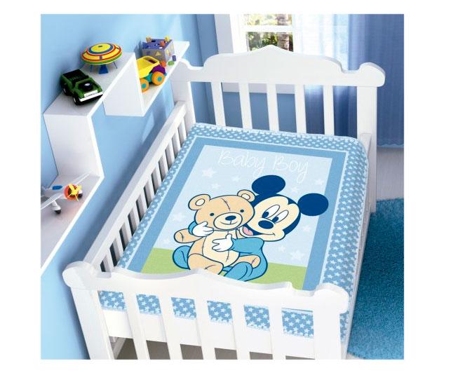 Cobertor de Bebe Mickey Azul Baby Boy