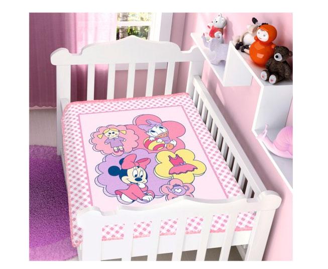 Cobertor de Bebe Minnie Rosa Brincando de Bonecas