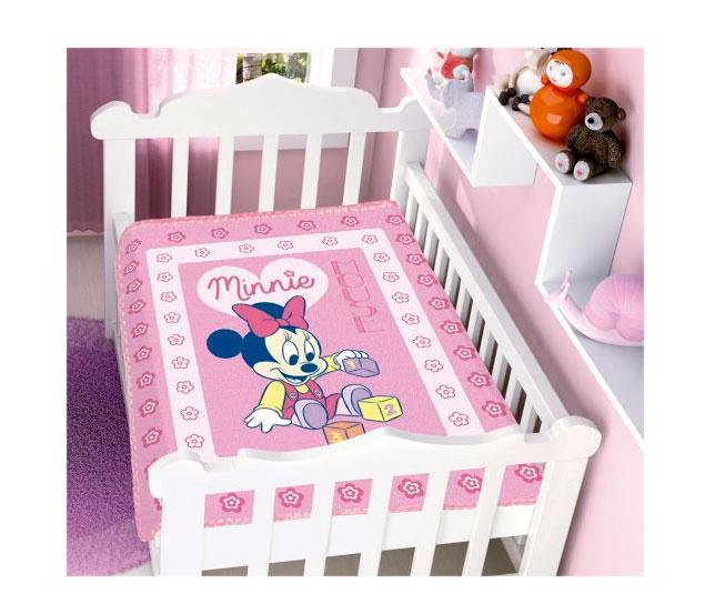 Cobertor de Bebe Minnie Rosa Brincando