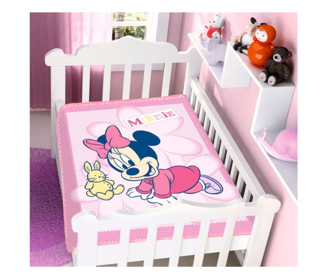 Cobertor de Bebe Rosa Minnie e Coelho