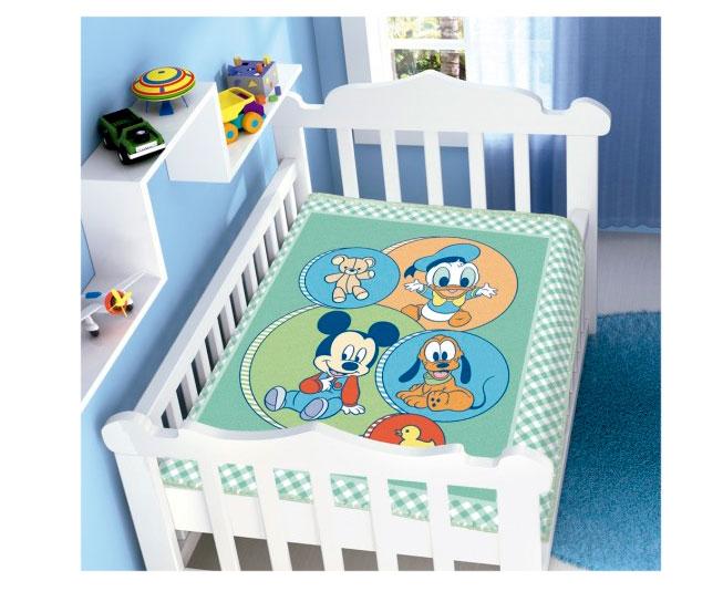 Cobertor de Bebe Mickey Azul Turminha Divertida