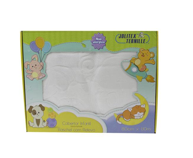Cobertor Infantil Raschel Com Relevo jolitex Ternille Balão Branco