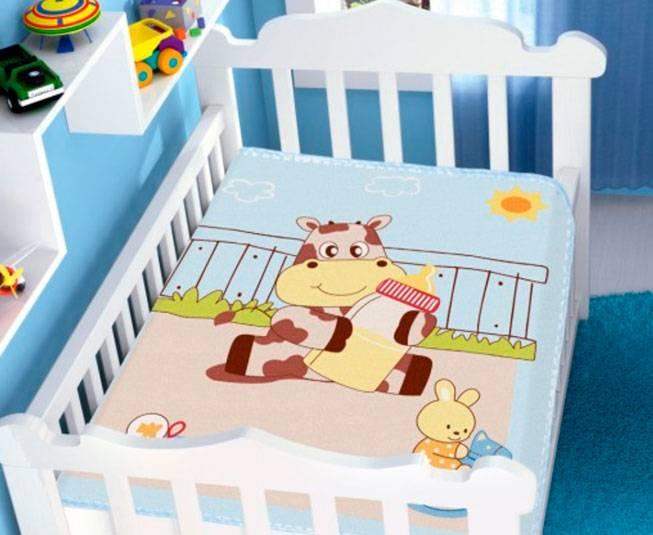 Cobertor de Bebe Jolitex Raschel Azul Meu Leitinho