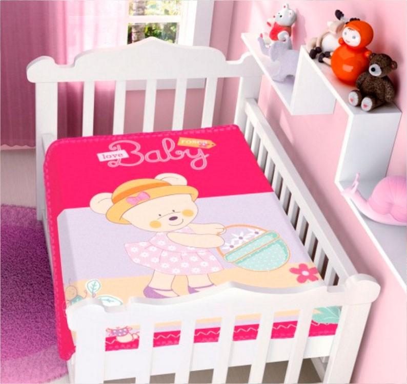 Cobertor Jolitex Raschel Pink Ursinha Baby