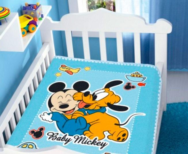 Cobertor de Bebe Mickey Azul Diversão
