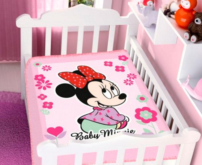 Cobertor de Bebe Minnie Rosa Florzinha