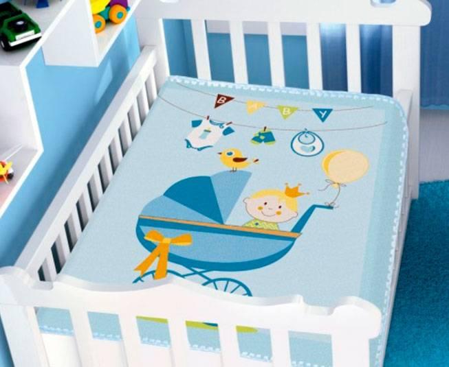 Cobertor Raschel Carrinho de Bebê Azul Jolitex Ternille