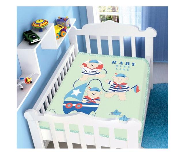 Cobertor de Bebe Jolitex Raschel Verde Três Marinheiro