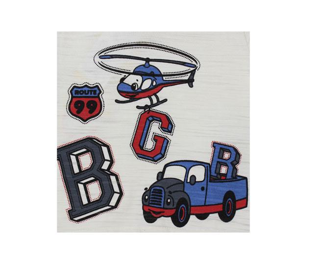 Conjunto Bege com Bermuda Xadrez Boca Grande