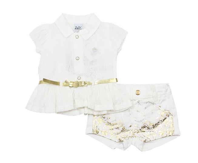 Conjunto Branco com Dourado e Renda Sonho Mágico