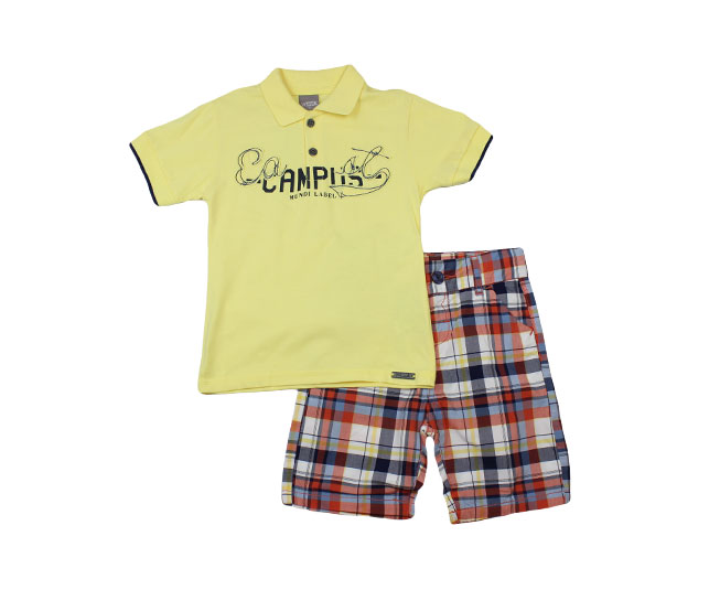 Conjunto Camisa Amarela CAMPUS + Short Listrado  Brandili Mundi
