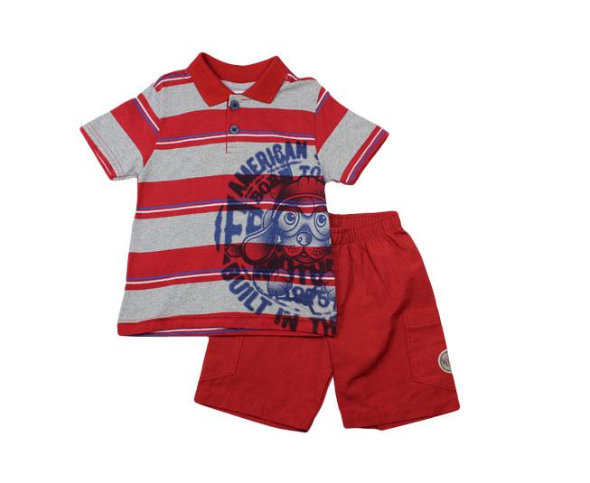 Conjunto Camisa Listrada de Cachorrinho + Short Boca Grande