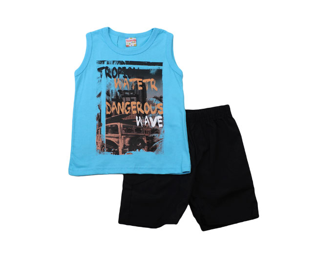 "Conjunto Camiseta Azul ""Tropical Water Dangerous"" + Short Preto"